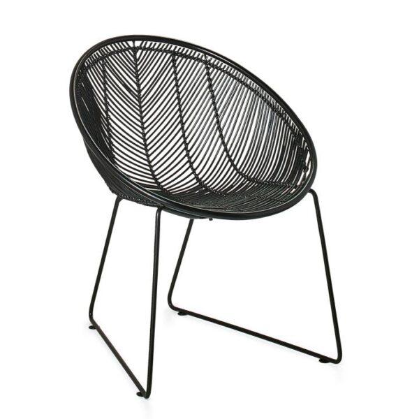 Casa Rattan Scoop Chair – Black