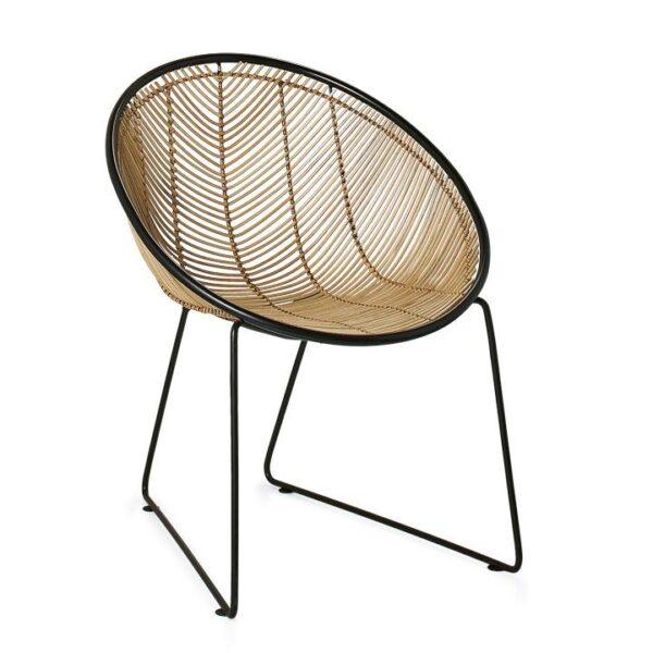 Casa Rattan Scoop Chair – Natural : Black