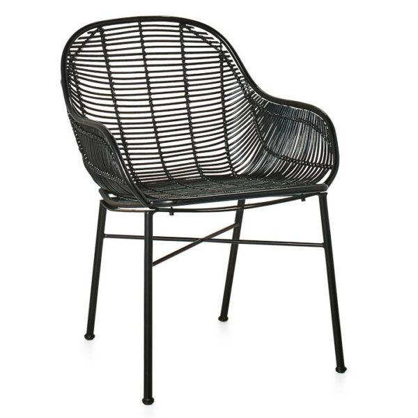 Tiga Rattan Lounge Chair – Black
