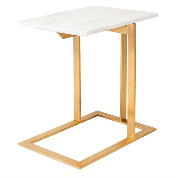 Dell Side Table White Gold