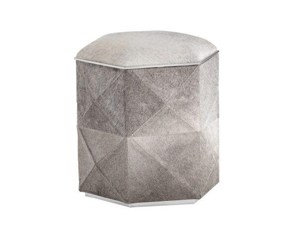 Ashanti Ottoman Silver & Grey